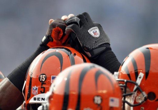 Cincinnati Bengals players, wearing a number 15 decal on their helmets, clasps hands just before the opening kickoff of the NFL football game against the San Diego Chargers Sunday Dec. 20, 2009 in San Diego. (AP Photo/Lenny Ignelzi)