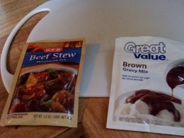 Beef stew spices and gravy mix add flavor to the stew.