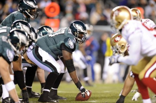 Philadelphia Eagles lineup against theSan Francisco 49ers, Sunday, Dec. 20, 2009, in Philadelphia. (AP Photo/Michael Perez)