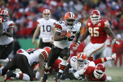 Cleveland Browns running back Jerome Harrison during an NFL football game against the Kansas City Chiefs in the fourth quarter Sunday, Dec. 20, 2009, in Kansas City, Mo. (AP Photo/Ed Zurga)