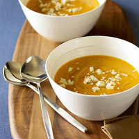 Queso Blanco makes many foods better, including hearty soups and stews. This is pureed sweet potato soup with chipotle and crumbled queso blanco.