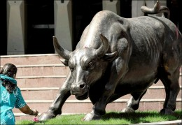 Bull, infront of BSE.