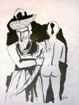 Fully Clad Muslim and a naked Hindu painted by F M Hessain.