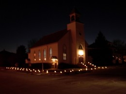 The Morrison BIC Church all lit up for the annual Christmas Walk.  BIC is affectionate shorthand for the Brethren in Christ denomination.
