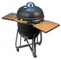 Ceramic kamado smoker closed to lock in flavor