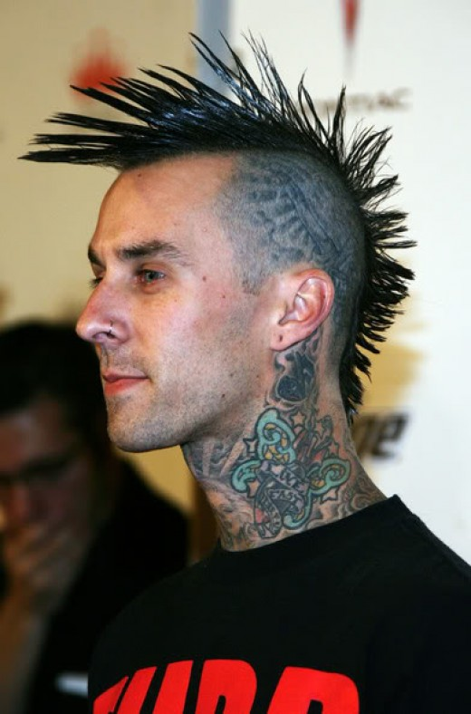 Travis Barker Mohawk hairstyle.