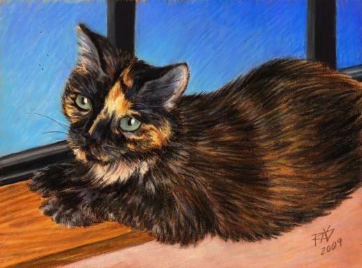 "Miss Gemini in the Window - 6 1/2"" x 8 3/4"" in Cretacolor pastel pencils on brown PastelMat by Robert A. Sloan"