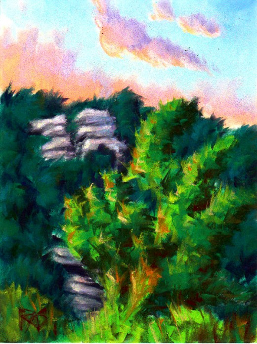 "Dawn over Outcrop on Mt. Petit Jean by Robert A. Sloan, PanPastels on ClaireFontaine PastelMat, 7"" x 9 1/2"""