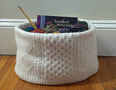 A Clever Knitting Bag made from a Felted Arran Sweater