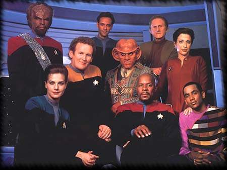 The cast of Star Trek: Deep Space Nine.  The show had a huge supporting cast--too large to name here.