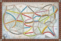 The North American board for A Ticket to Ride features prominent cities in the United States and southern Canada. This version is for 2-4 players.