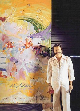 photo of LeRoy Neiman in front of an oversized painting