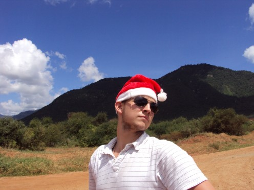 Tony in the Christmas spirit along the way to Pangani