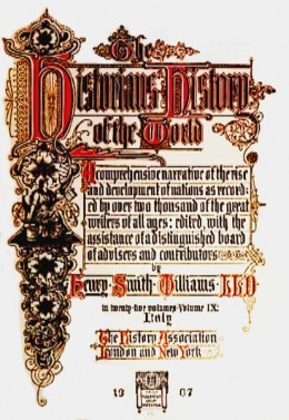 The title page to The Historians' History of the World.