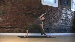 Reverse Warrior - Keep your knee bent above the ankle and stay lifted in the side of your body that you're bending over so you don't feel collapsed.