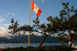 Canadian Flag Flying at Canada Place, Vancouver, BC.
