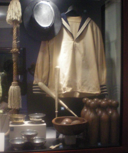 Tassels Used To Clean A Sailor's Hands. A Sailor's Hat And Jersey. The Pins And Balls Used In A Game Of Nine Pins.