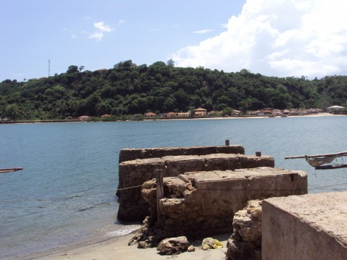 Remains of the old jetty that slaves used to walk on to board the slave ships