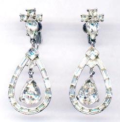 Trifari Vintage Costume Jewelry | Rhinestone Earrings