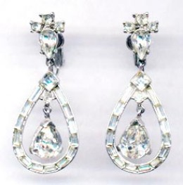 Trifari Vintage Costume Jewelry | Rhinestone Earrings