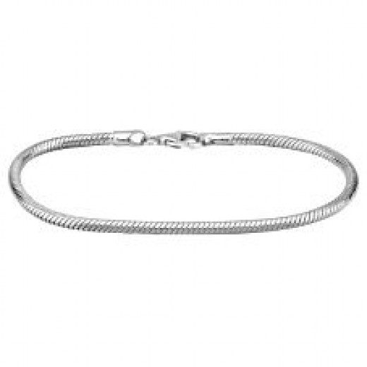"8 1/4"" SS Snake Lobster Claw Bracelet"