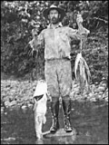 Colonel Fawcett goes fishing on one of his expeditions