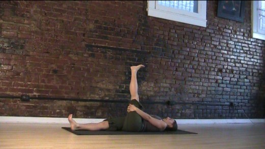 Hamstring Hug - Push the femur (thigh) BACK rather than trying to pull it into your chest. This roots the thigh bone and aligns the hips which is wonderful for the lower back.