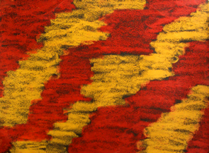 Love's Interruption: Abstract Art by Injete Chesoni. Oil Pastels on Sandpaper.