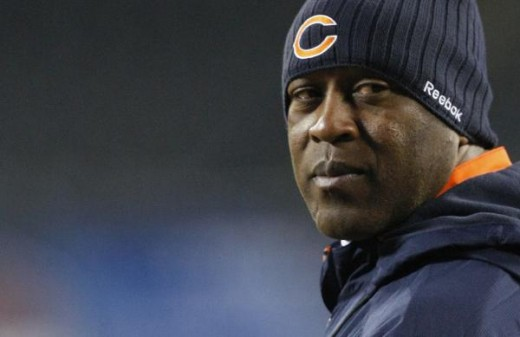 hicago Bears coach Lovie Smith is seen on the field before an NFL football game between the Bears and the Minnesota Vikings in Chicago, Monday, Dec. 28, 2009. (AP Photo//Charles Rex Arbogast)