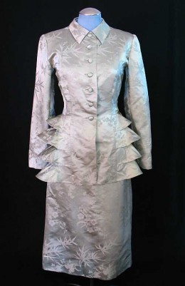 Silver, ruffled silk suit, circa 1940s