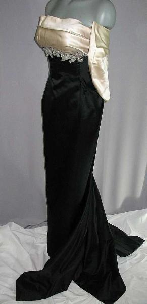 1950s Tavilla silk and satin, with silver beaded embroidery