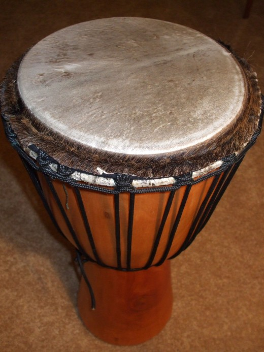 A drum from western Africa known as a djembe or jembe.