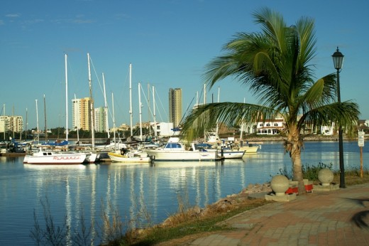 "The Isla Marina in the Sabalo Estuary, Mazatlan - The ""Palapa"" restaurant has good food and horseshoes. Like Marina Costa Baja, this marina was built to accomodate all the rich gringo homeowners, who unfortunately have failed to appear."