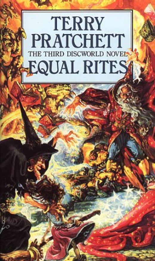 Equal Rites introduces the witches and wizards in to the Discworld Novels.