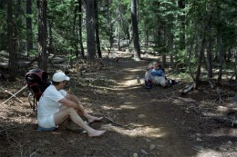 Taking a rest along the trail near Mt. McLoughlin.