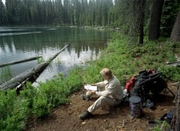 Bill checks his guide book next to Heavenly Twin Lake.