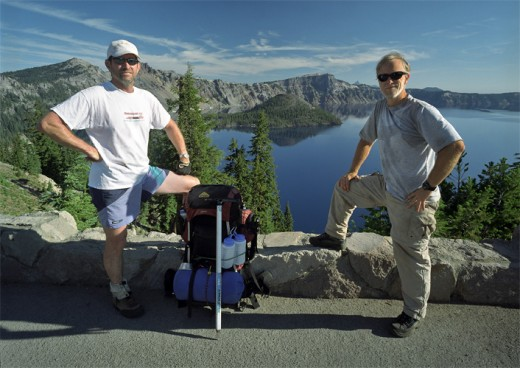Jondolar and Bill pose together in front of Crater Lake.