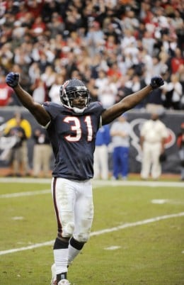 Houston Texans' Bernard Pollard celebrates the Texans' 34-27 win over the New England Patriots in an NFL football game Sunday, Jan. 3, 2010, in Houston. (AP Photo/Dave Einsel)
