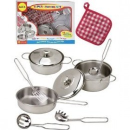 Stainless steel toy cooking set