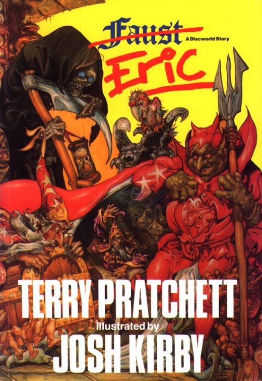 The Discworld Eric (Faust) book has the return of Rincewind from the Dungeon Dimensions, and a young Demonologist with a pet parrot!