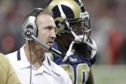 St. Louis Rams Head Coach Steve Spagnuolo during the first quarter of an NFL football game against the San Francisco 49ers Sunday, Jan. 3, 2010, in St. Louis. (AP Photo/Seth Perlman)