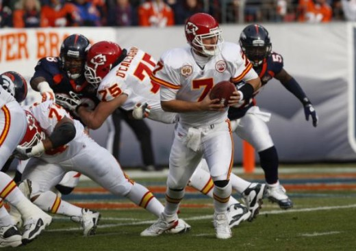 Kansas City Chiefs quarterback Matt Cassel hands off the ball while facing the Denver Broncos in the first quarter of an NFL football game Sunday, Jan. 3, 2010, in Denver. (AP Photo/ Ed Andrieski )