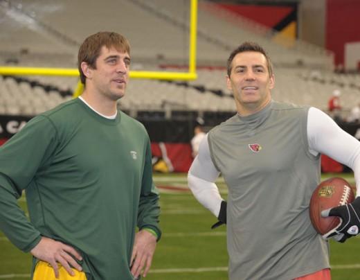Aaron Rodgers and Kurt Warner (Jim Biever/Packers.com)