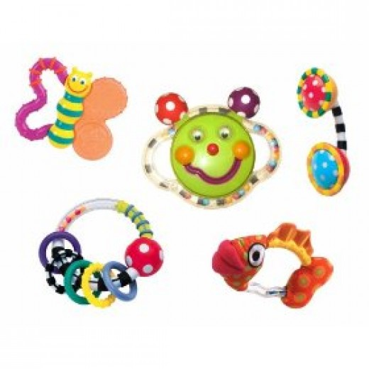 5 piece set of baby rattles and teethers