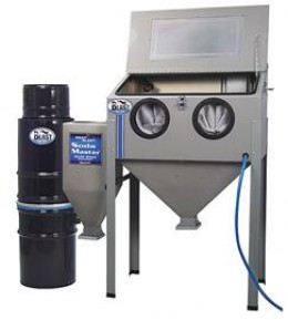 Sandblaster cabinet, abrasive container and dust collector.