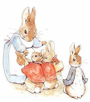 Peter Rabbit and his sisters, heading off to school... from bethanyroberts.com