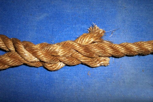 Finish pushing all three end strands under the loops as shown and you still have 2 or 3 inches sticking out.