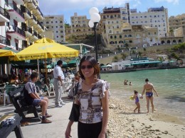 me in Valetta city,Malta where the people are swimming