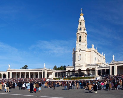 A crowd of pilgrims at Fatima, Portugal - a major pilgrimage site for the Roman Catholics.