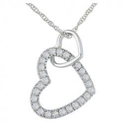 Diamonds Double Heart Pendant or Ring - Perfect Gift for the Woman you Love
